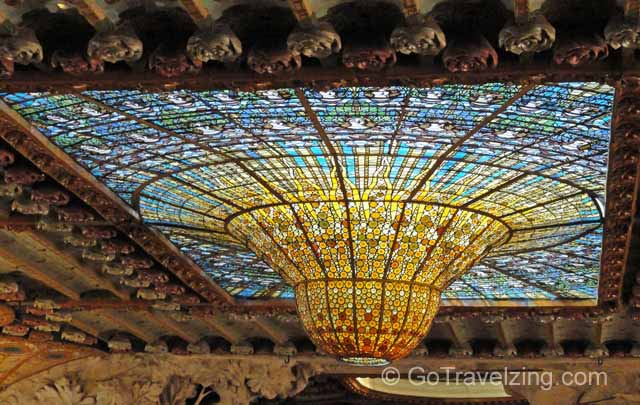 Stained Glass Ceiling at Palau De La Musica