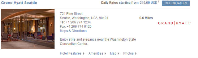 Grand Hyatt Hotel Rate on their Website