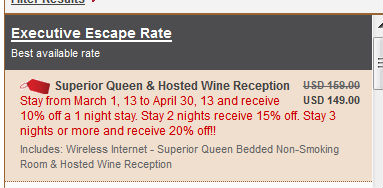 Hotel Pacific Rate on their Website