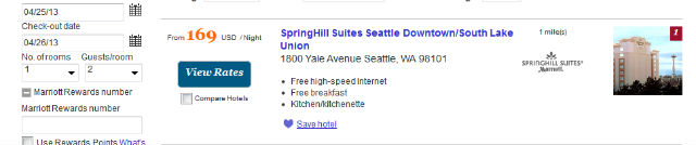 Springhill Suites Seattle Hotel Rate