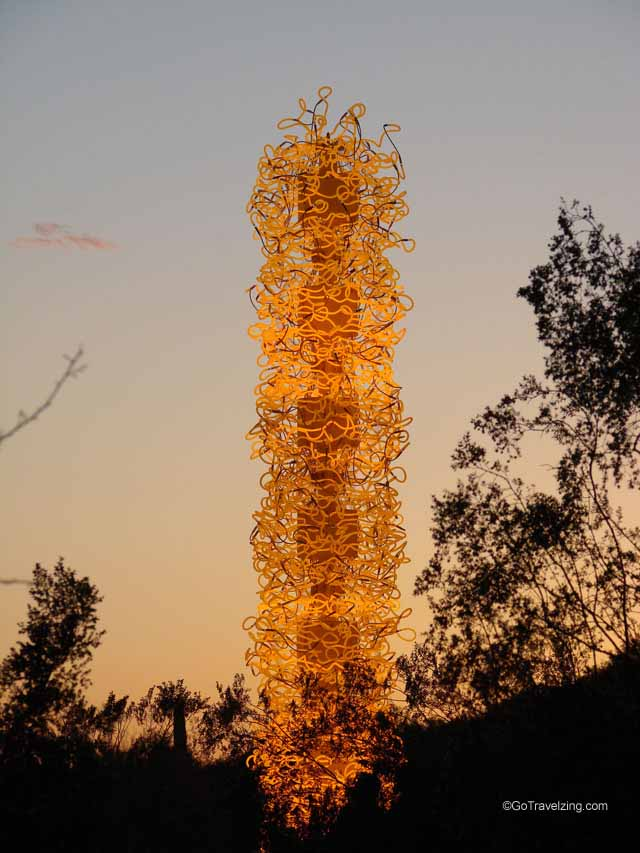 Chihuly Neon Glass Sculpture at sunset