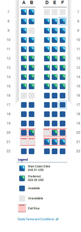 American Airlines Preferred Seat Chart