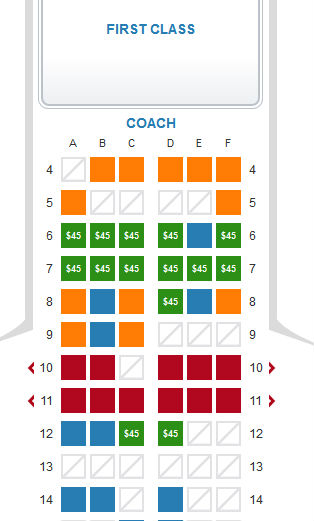 US Airways Choice Seat Chart
