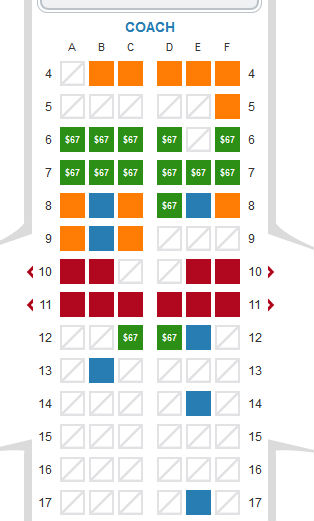 US Airways Choice Seat Chart 1