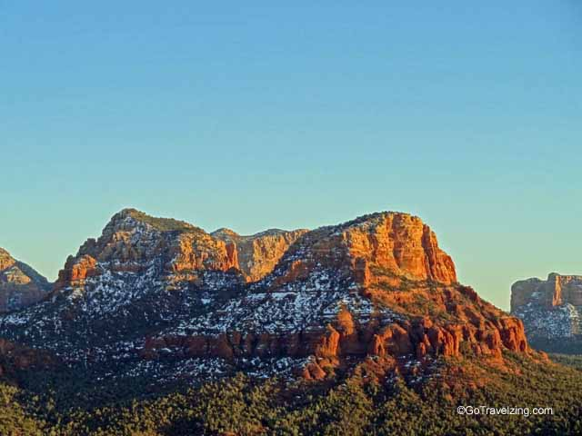 Snow capped rocks in Sedona Arizona