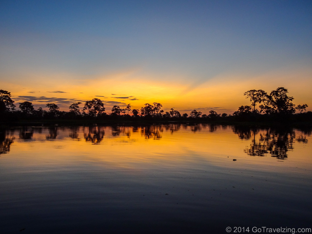 Sunset Reflection on the Amazon River