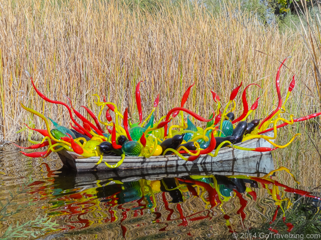 Chihuly boat with colorful glass sculptures