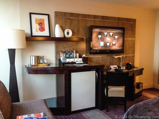 Flat screen TV and desk in hotel room of the Aria Resort in Las Vegas
