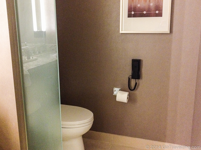 Toilet with phone at the Aria Resort and Casino