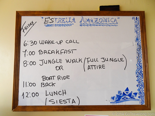 The daily schedule was posted twice a day.