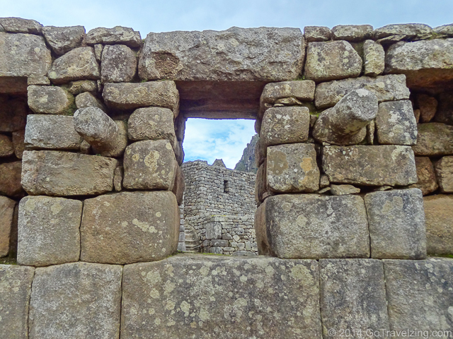 The view out of one of the windows in Machu Picchu