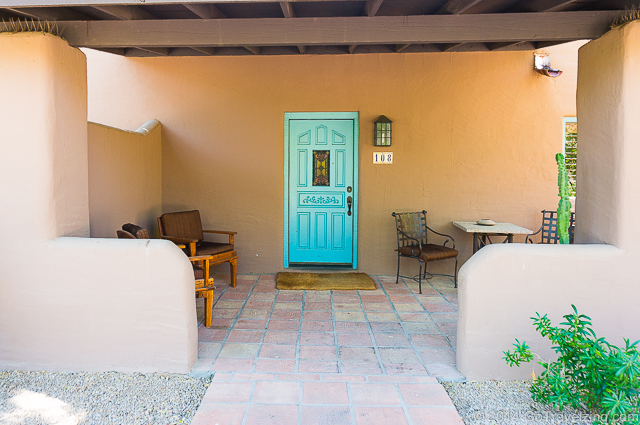 Entrance to the deluxe casita at the Hermosa Inn