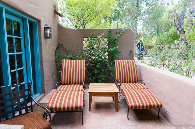 Lounge chairs on the patio of the Deluxe Casita